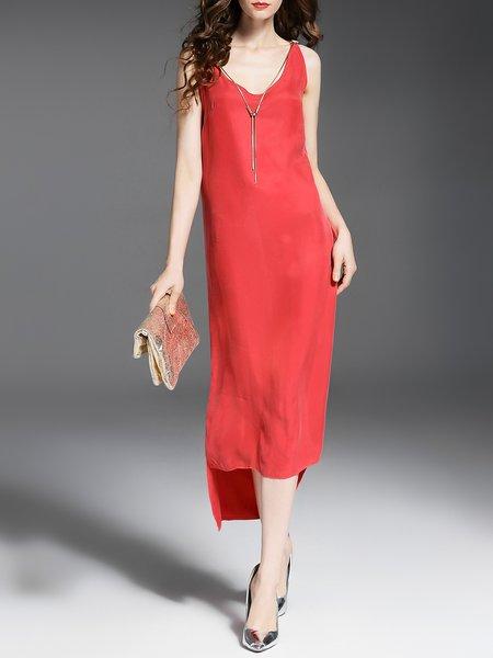 Rayon V Neck Simple Sleeveless Midi Dress