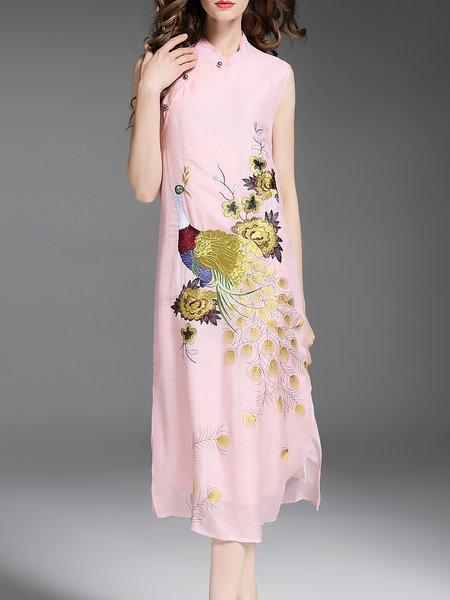 Sleeveless Embroidered Vintage Stand Collar Silk Midi Dress