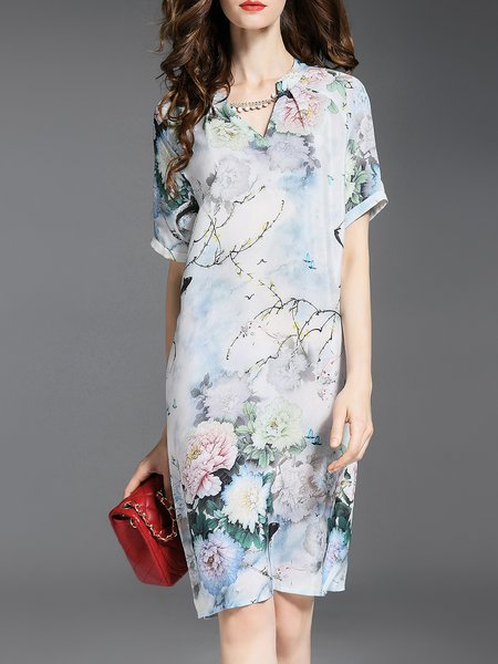 Floral-print Vintage Short Sleeve Midi Dress