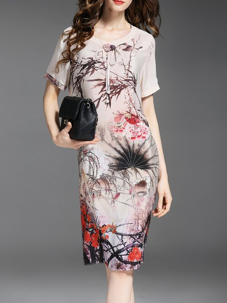 Multicolor Crew Neck Silk Shift Short Sleeve Midi Dress