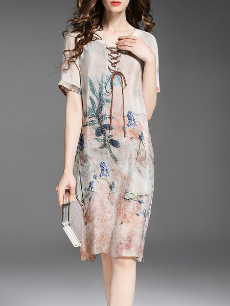 Vintage Silk Floral Crew Neck Short Sleeve Midi Dress