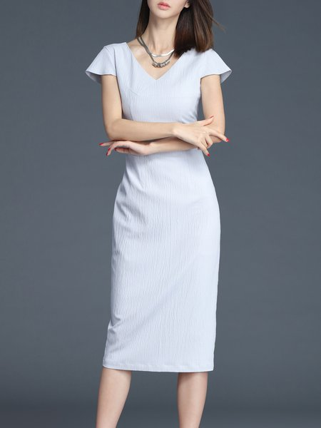 Gray V Neck Work Plain Sheath Midi Dress