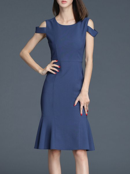 Blue Work Plain Midi Dress
