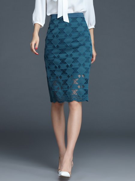 Green Geometric Pierced Work Midi Skirt