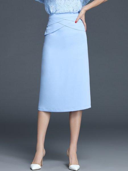 Blue Elegant Plain Polyester Midi Skirt