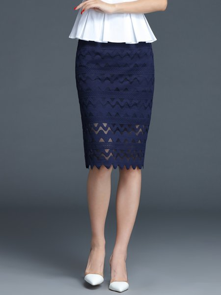 Navy Blue Geometric Lace Work Pierced Midi Skirt