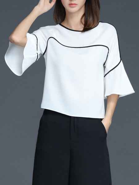 White Chiffon Ruffled Formal Short Sleeved Top