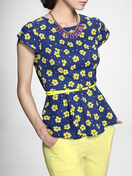 Blue Floral Chiffon Ruffled Work Short Sleeved Top