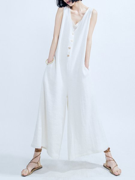 White V Neck Sleeveless Cotton Jumpsuit