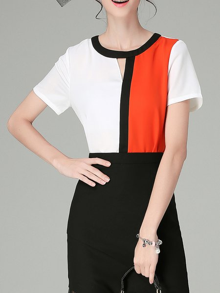 White Simple Chiffon Color-block Crew Neck Short Sleeved Top