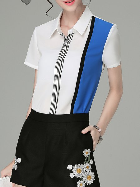 White Short Sleeve Color-block Shirt Collar Blouse