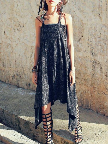 Black Ombre/Tie-Dye Asymmetrical Spaghetti Midi Dress
