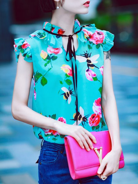 Floral-print Frill Sleeve Sweet Tank
