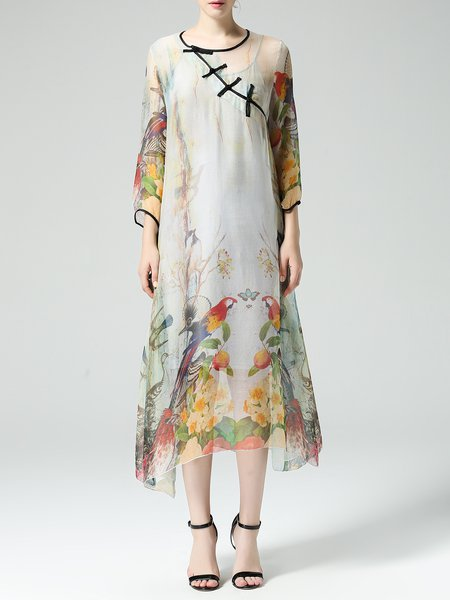 Printed Multicolor 3/4 Sleeve Crew Neck Two Piece Midi Dress