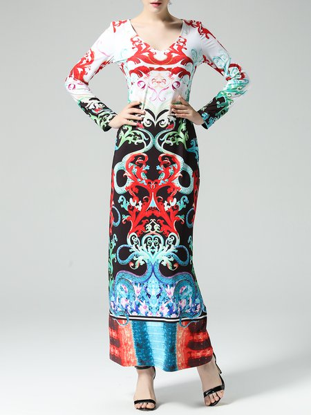 Printed Long Sleeve Boho Sheath Maxi Dress