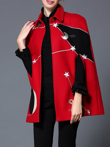 Red Stand Collar Casual Shift Poncho And Cape