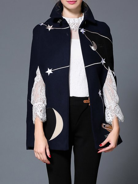 Plus Size Dark Blue Embroidered Casual Stand Collar Cape