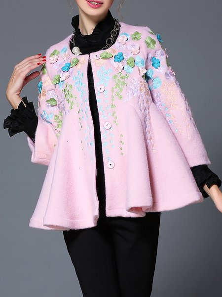 Pink Embroidered Wool Blend Long Sleeve Floral Coat
