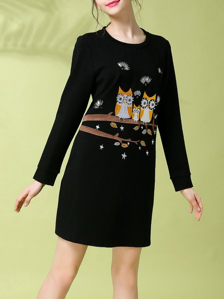 Black A-line Cotton-blend Crew Neck Long Sleeve Mini Dress