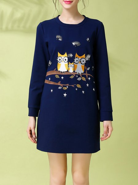 Blue Long Sleeve Cotton-blend Crew Neck A-line Mini Dress