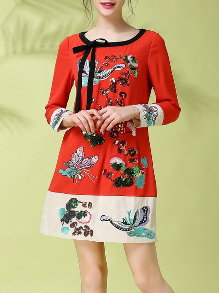 Red Vintage Embroidered Mini Dress