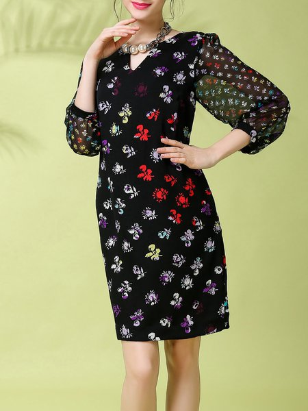 Black Balloon Sleeve H-line V Neck Floral Midi Dress