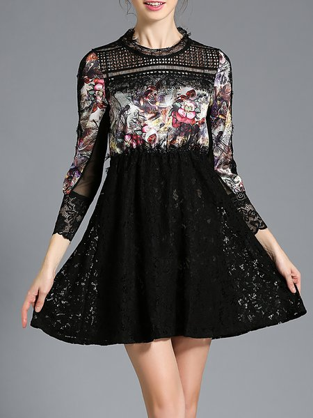 Black Pierced 3/4 Sleeve Lace Floral Mini Dress