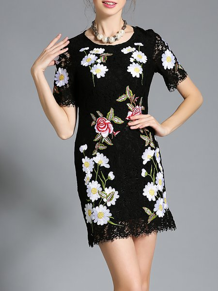 Black Embroidered H-line Sweet Mini Dress