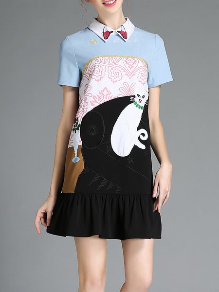 Black Flounce Embroidered Peter Pan Collar Sweet Mini Dress