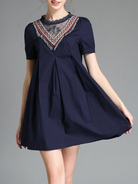 Casual Short Sleeve Tribal Folds A-line Mini Dress