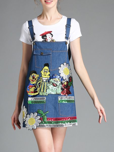 Blue Embroidered A-line Casual Overall Mini Dress