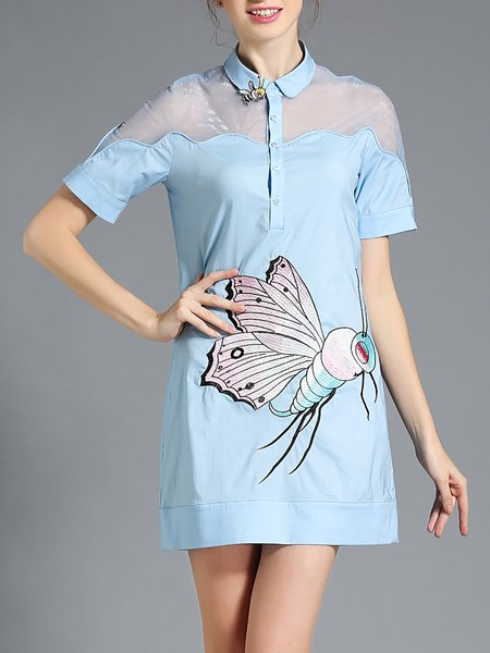 Short Sleeve H-line Embroidered Simple Mini Dress