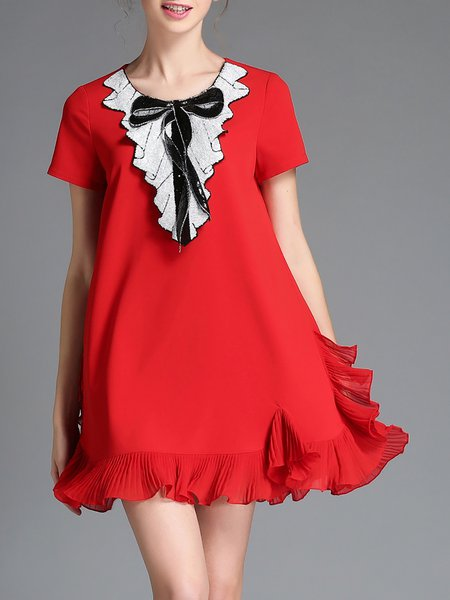 Red Plain Bow Girly Mini Dress