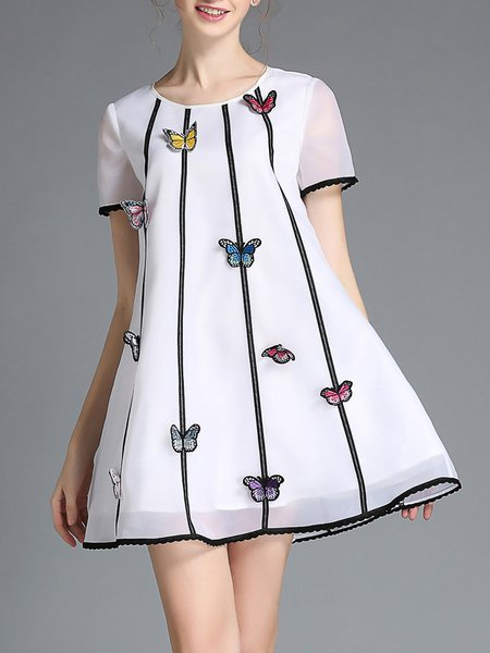 White Stripes Crew Neck Organza Sweet Mini Dress