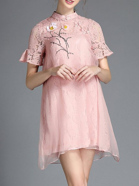 Pink Frill Sleeve Paneled Stand Collar Two Piece Mini Dress
