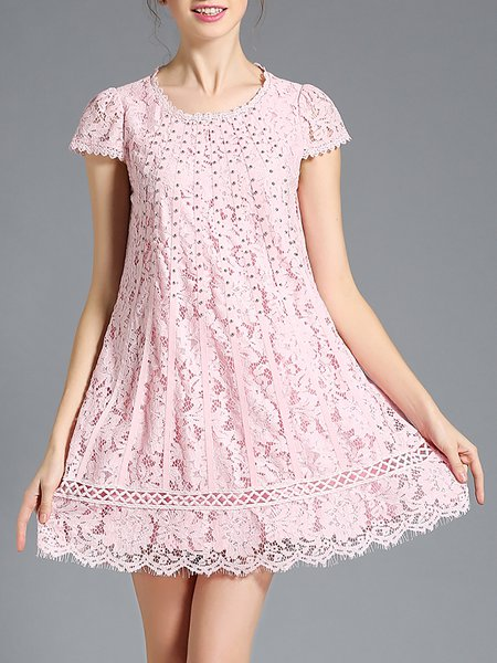 Pink Pierced Lace Girly A-line Mini Dress
