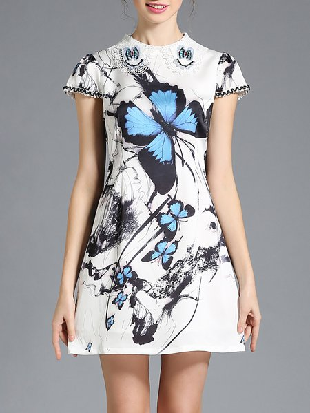White Butterfly Printed Polyester Mini Dress