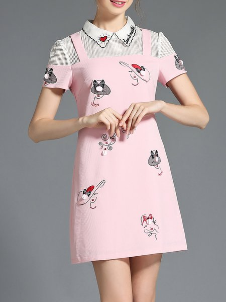 Pink Pierced Short Sleeve A-line Polyester Mini Dress