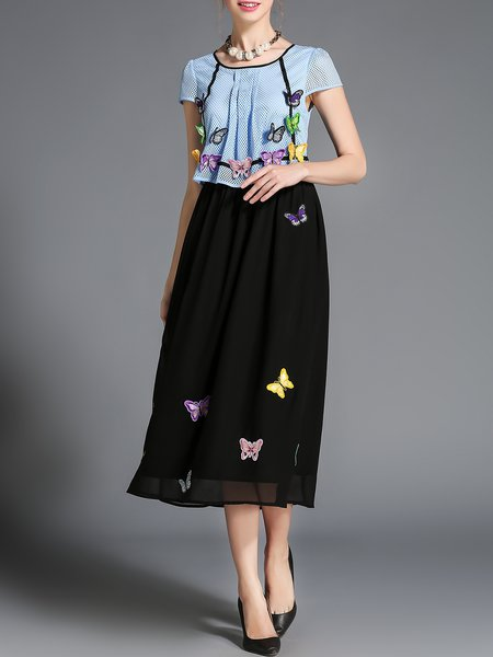 Short Sleeve Girly Crew Neck A-line Appliqued Midi Dress