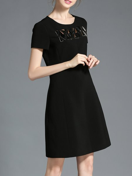 Crew Neck Zipper Simple Plain Short Sleeve Midi Dress