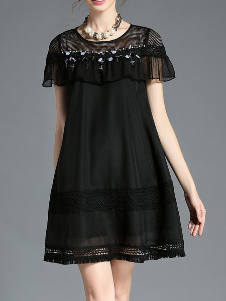 Casual Crew Neck Short Sleeve Mesh Beaded Mini Dress