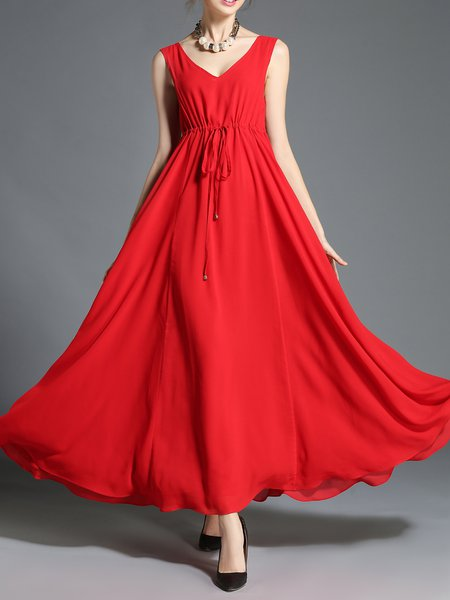 Red Sleeveless Bow Resort Maxi Dress