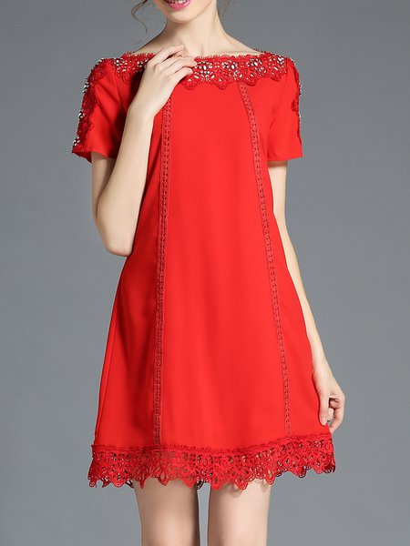 Red Beaded Plus Size Short Sleeve Mini Dress