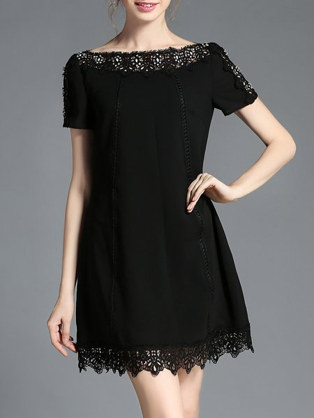 Black A-line Beaded Bateau/boat Neck Plus Size Mini Dress