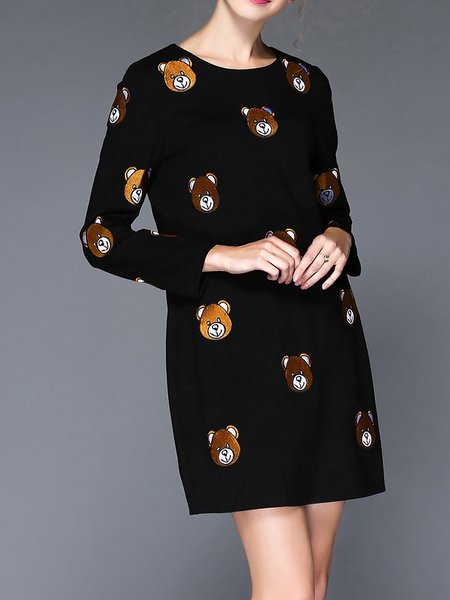 Black Sweet Bear Embroidered Cotton-blend Mini Dress