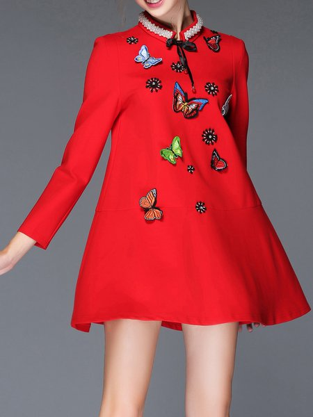 Res Butterfly Embroidered Stand Collar Long Sleeve Mini Dress