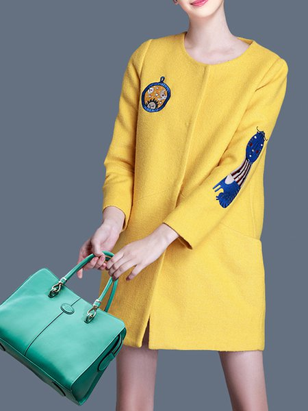 Yellow Wool Blend Long Sleeve Plain H-line Coat