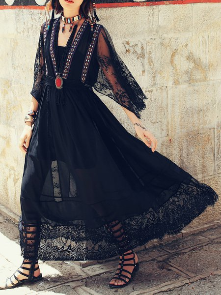 Black Swing Chiffon Boho Maxi Dress