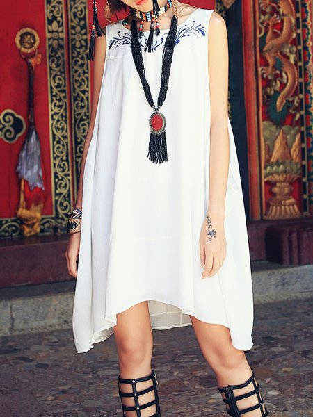 White Plain Casual A-line Midi Dress
