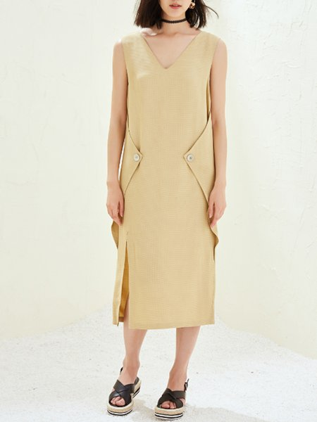 Yellow Simple Buttoned Slit H-line Midi Dress